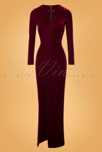Collectif Clothing 50s Billa Velvet Maxi Dress in Wine