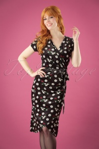 50s Delia Velvet Floral Cross Dress in Black
