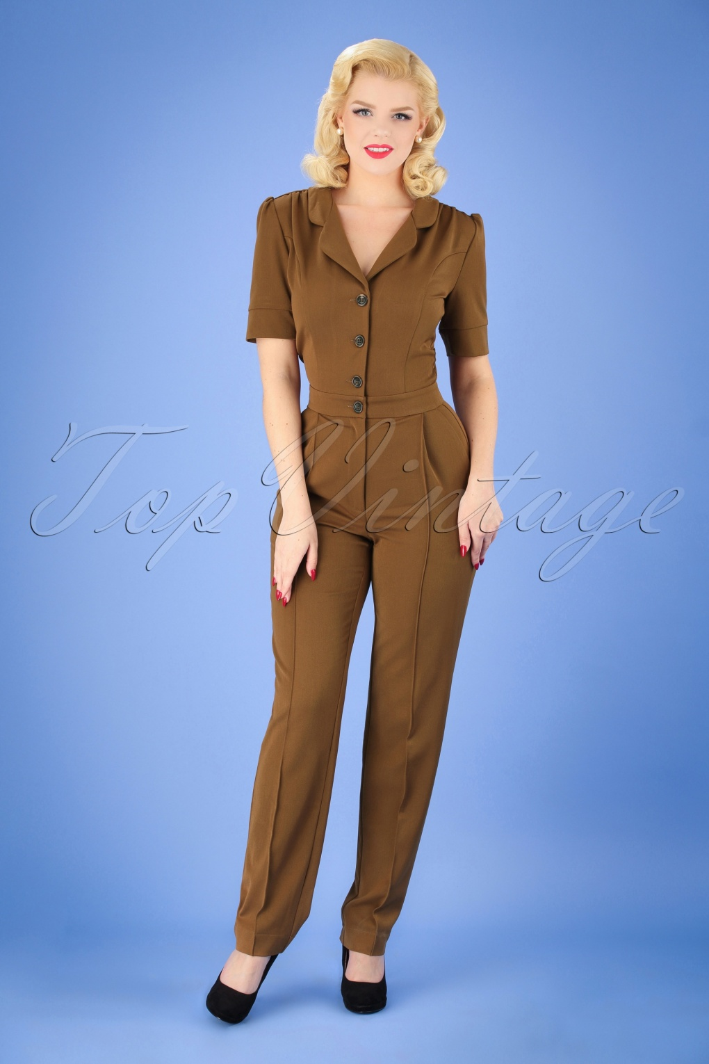 1940s Swing Pants & Sailor Trousers- Wide Leg, High Waist 40s Classic Jumpsuit in Caramel £141.52 AT vintagedancer.com