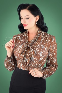 40s Madeline Floral Blouse in Brown