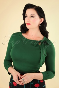 50s Melanie Tie Neck Top in Green