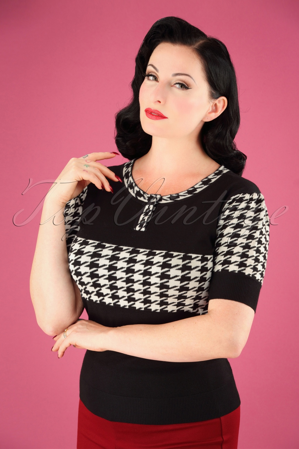 Vintage & Retro Shirts, Halter Tops, Blouses 50s Kimberly Houndstooth Sweater in Black and White £31.20 AT vintagedancer.com