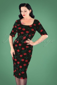 Collectif Clothing 50s Amber Rose Stem Pencil Dress in Black