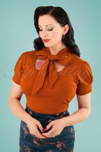 50s Bonnie Tie Neck Top in Cinnamon