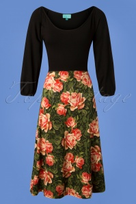 LaLamour Flared Green Floral Dress 102 49 25221 20180920 0002W