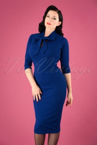 50s Lindsay Tie Neck Pencil Dress in Royal Blue