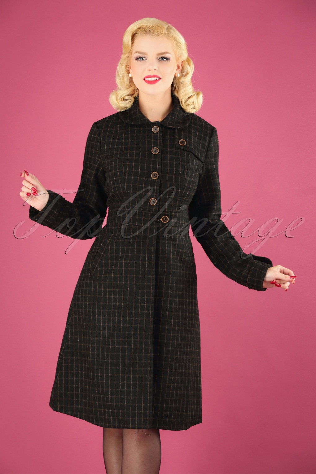 1940s Style Coats and Jackets for Sale 40s Lizzie Coat in Brown £91.00 AT vintagedancer.com
