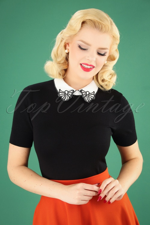 Bunny Bow Collar Top in Black 110 10 25892 20180912 1W