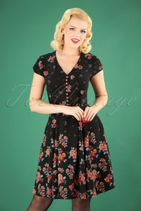 50s Ellen Roses Dress in Navy
