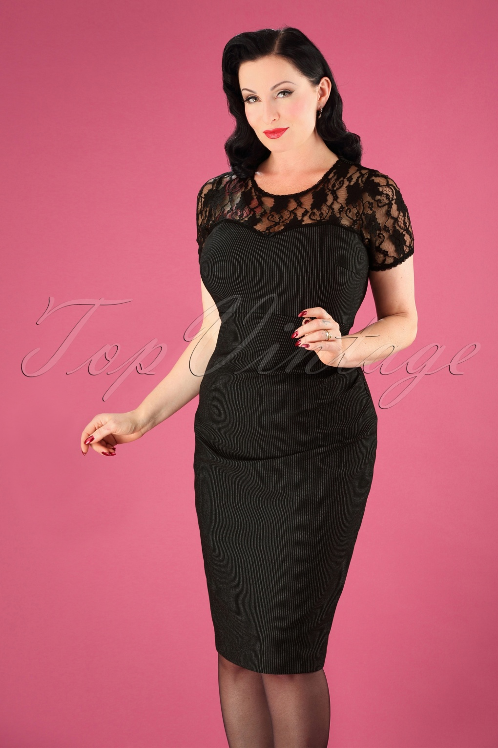 1940s Dresses | 40s Dress, Swing Dress 50s Dandy Shape Dress in Black £39.35 AT vintagedancer.com