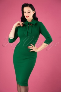 50s Lindsay Tie Neck Pencil Dress in Emerald Green