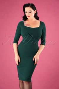 50s Mayfair Pleated Pencil Dress in Forest Green