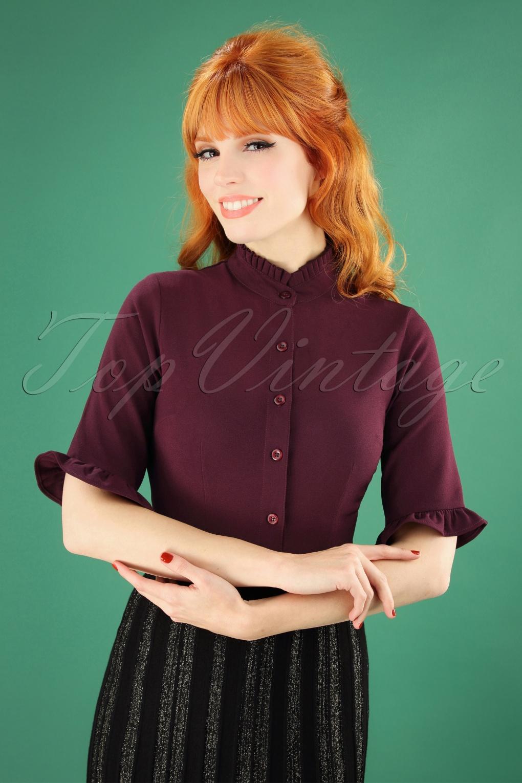 60s Shirts, T-shirt, Blouses | 70s Shirts, Tops, Vests 60s Brenda Blouse in Burgundy £39.18 AT vintagedancer.com