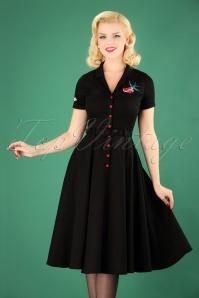 50s Caterina True Love Swing Dress in Black