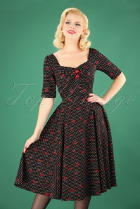 50s Dolores Cherry Polkadot Doll Dress in Black