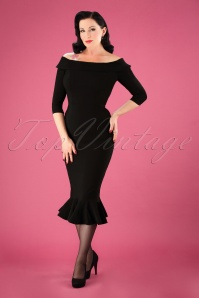 50s Orla Fishtail Pencil Dress in Black