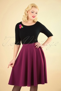 Vintage Chic 50s Sheila Swing Skirt in Amaranth 122 60 24100 20180911 1W