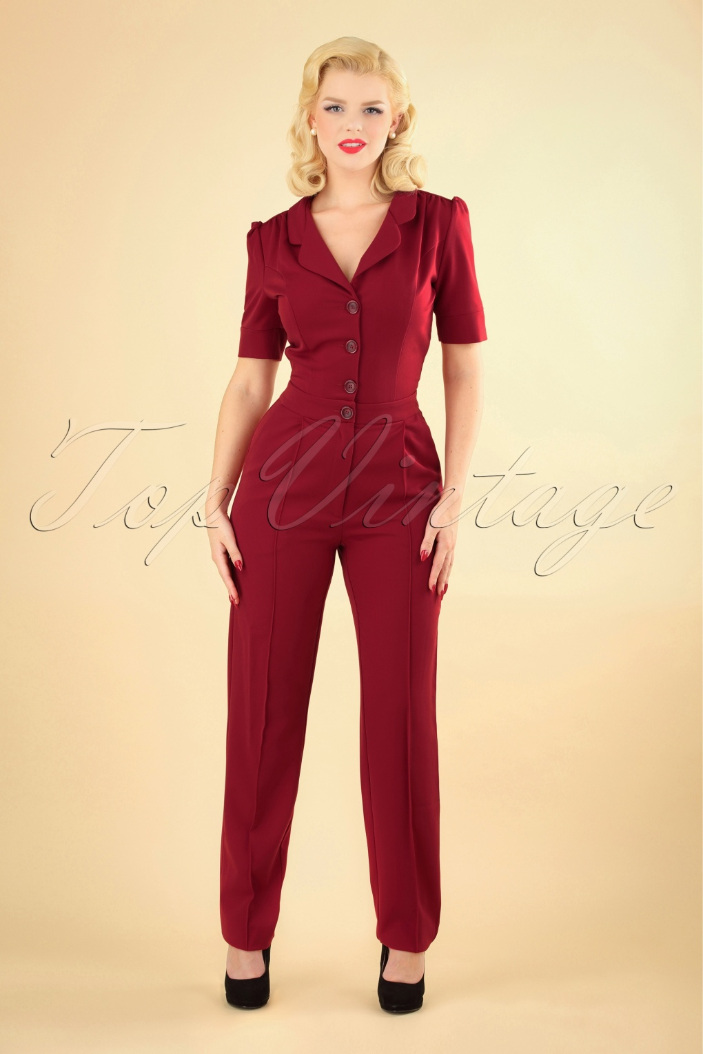 1940s Swing Pants & Sailor Trousers- Wide Leg, High Waist 40s Classic Jumpsuit in Deep Red £141.52 AT vintagedancer.com