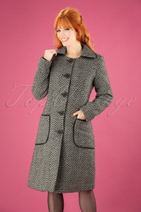 60s Tilly Herringbone Coat in Black and White