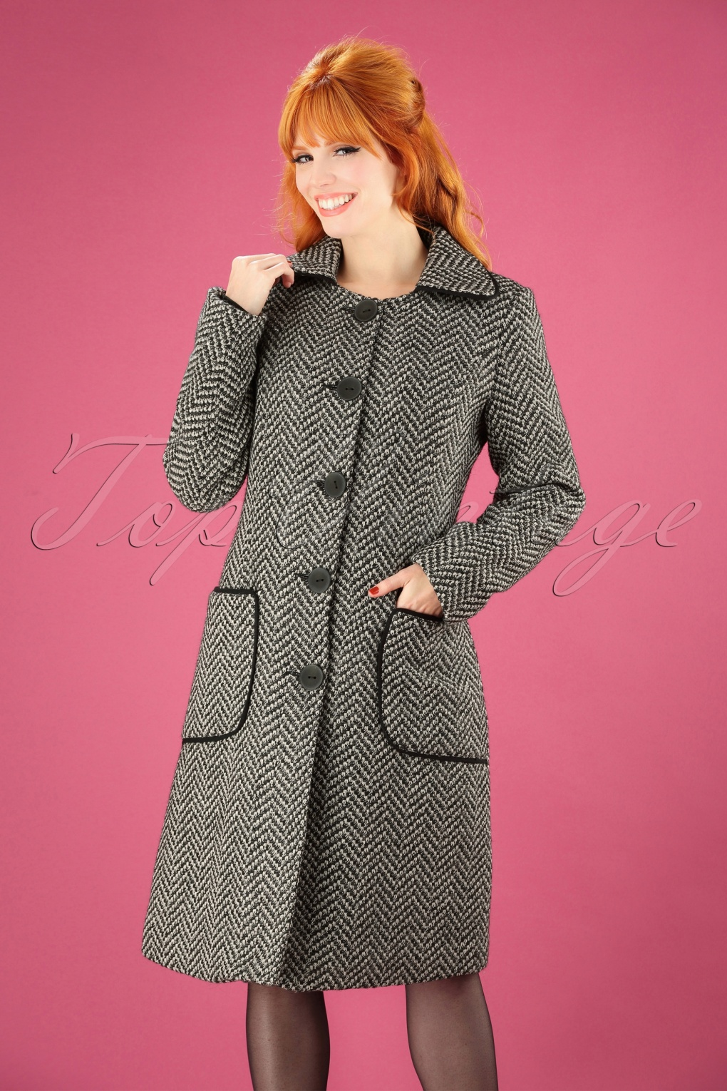Vintage Coats & Jackets | Retro Coats and Jackets 60s Tilly Herringbone Coat in Black and White £150.37 AT vintagedancer.com