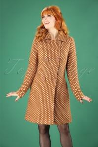 60s Nora Polkadot Coat in Caramel