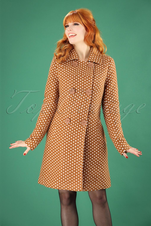 Vintage Coats & Jackets | Retro Coats and Jackets 60s Nora Polkadot Coat in Caramel £151.37 AT vintagedancer.com