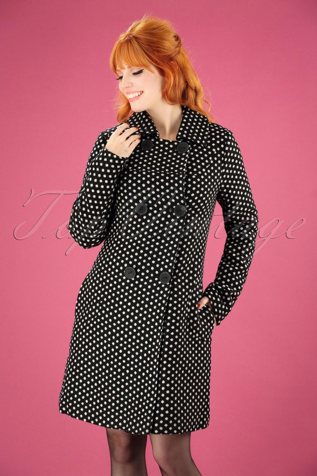 Vintage Coats & Jackets | Retro Coats and Jackets 60s Nora Polkadot Coat in Black £151.37 AT vintagedancer.com