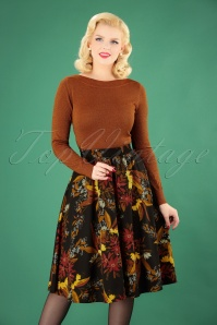 50s Segovia Floral Swing Skirt in Black