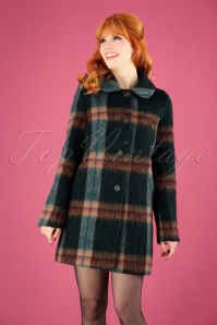 60s Eloise Wool Coat in Olive Plaid