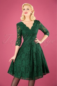 50s Jolie Lace Prom Dress in Green