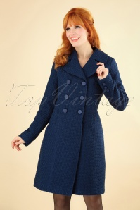 60s Lorelai Biscuit Coat in Dark Blue