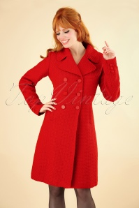 60s Lorelai Biscuit Coat in Scarlet Red