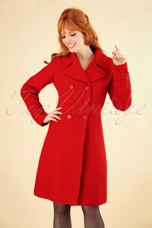 Vintage Coats & Jackets | Retro Coats and Jackets 60s Lorelai Biscuit Coat in Scarlet Red £164.73 AT vintagedancer.com