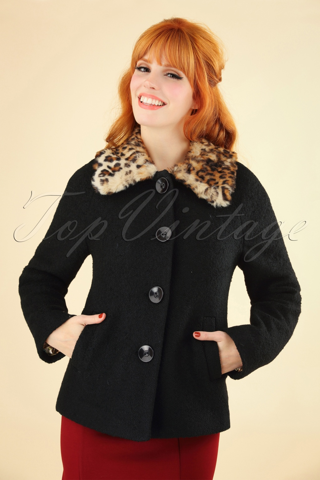 1950s Jackets, Coats, Bolero | Swing, Pin Up, Rockabilly 60s Loretta Razzmataz Coat in Black £66.93 AT vintagedancer.com