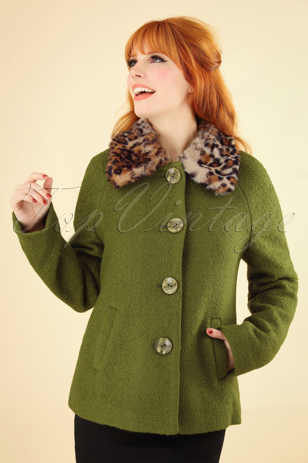 1960s Style Dresses, Clothing, Shoes UK 60s Loretta Razzmataz Coat in Posey Green £67.49 AT vintagedancer.com
