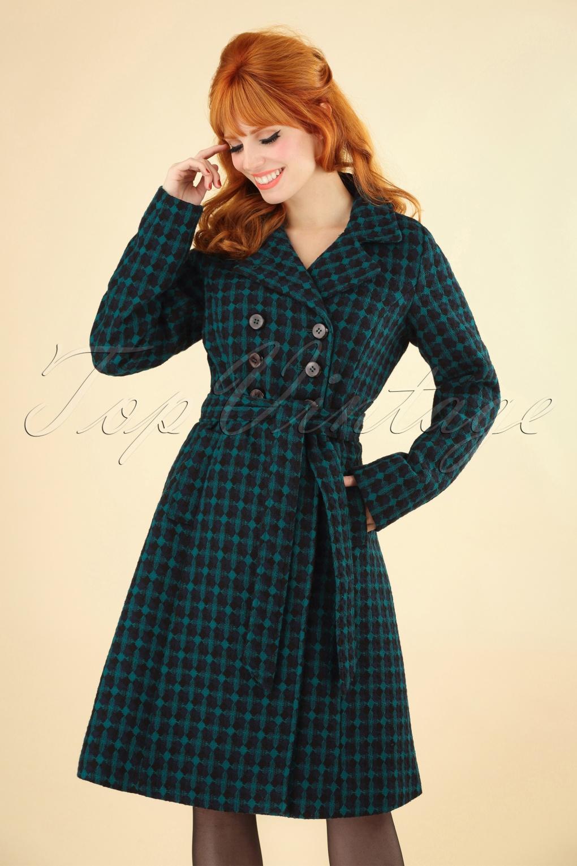 Vintage Coats & Jackets | Retro Coats and Jackets 60s Simone Madison Coat in Black and Blue £178.17 AT vintagedancer.com