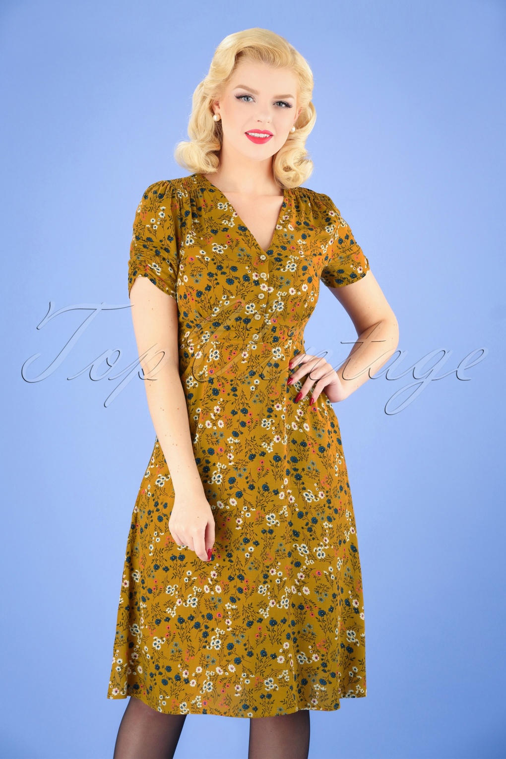 1940s Dresses | 40s Dress, Swing Dress 40s Chantal Ditsy Tea Dress in Mustard £52.29 AT vintagedancer.com