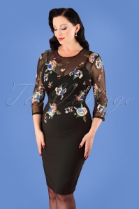 50s Hallie Floral Sequin Pencil Dress in Black