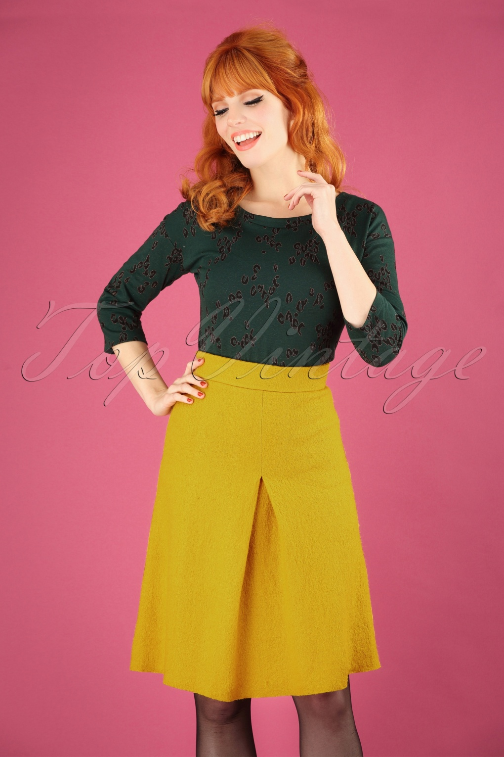 1960s Style Dresses, Clothing, Shoes UK 60s Finette Wool Skirt in Antique Moss £35.23 AT vintagedancer.com