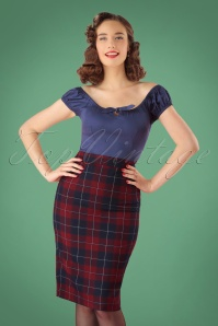50s Polly Ginsburg Check Pencil Skirt in Red and Navy