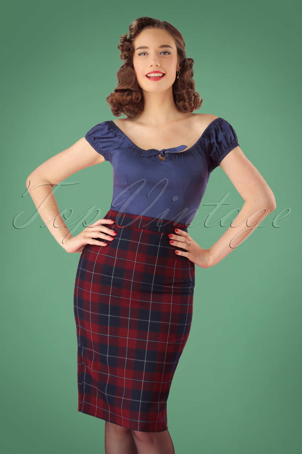 50s Dresses UK | 1950s Dresses, Shoes & Clothing Shops 50s Polly Ginsburg Check Pencil Skirt in Red and Navy £25.18 AT vintagedancer.com