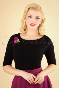 50s Lalla Pom Pom Jumper in Black