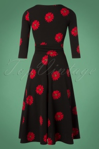 Vintage Chic Red Black Flower Dress 102 14 28444 20181113 010W