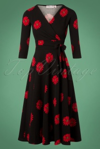 Vintage Chic Red Black Flower Dress 102 14 28444 20181113 008W