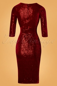 Vintage Chic Red Velvet Sequin Pencil Dress 100 20 28015 20181112 007W