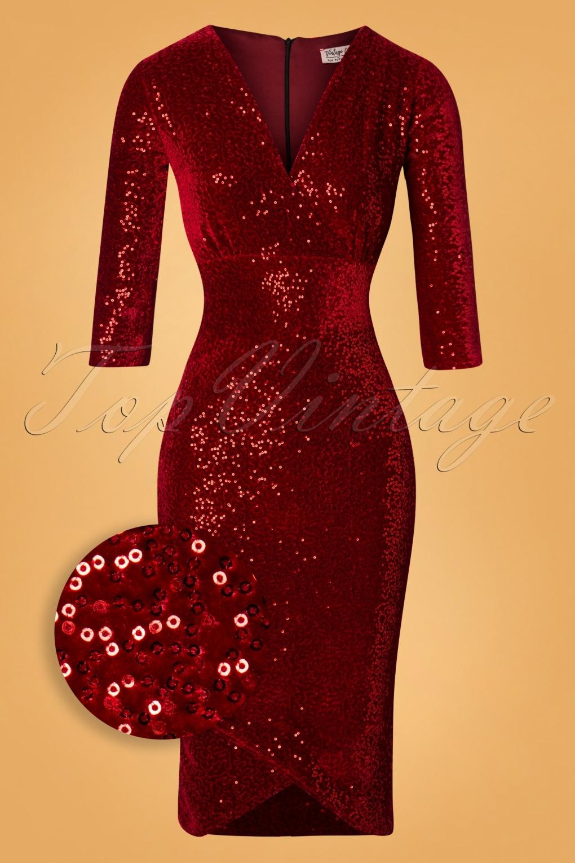 1950s Cocktail Dresses, Party Dresses 50s Saskia Sequin Pencil Dress in Red Velvet £62.98 AT vintagedancer.com