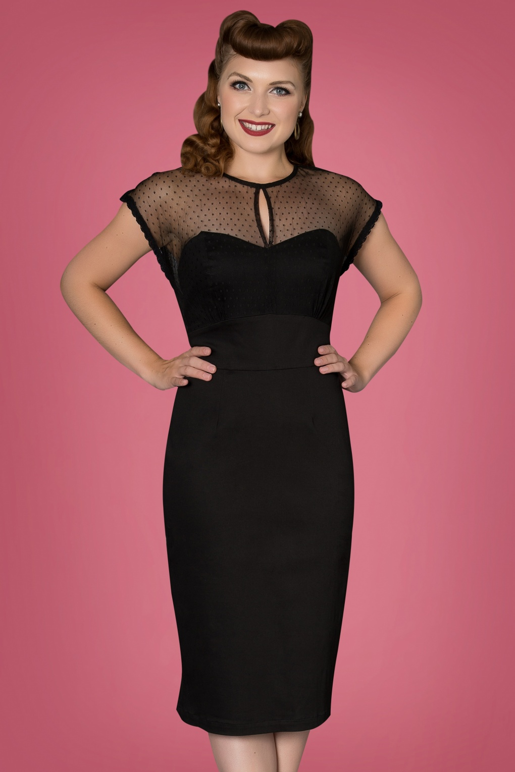 1950s Dresses, 50s Dresses | 1950s Style Dresses 50s Ophra Pencil Dress in Black £53.41 AT vintagedancer.com