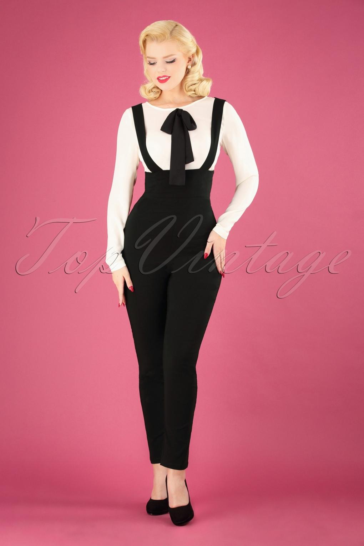 1950s Pants & Jeans- High Waist, Wide Leg, Capri, Pedal Pushers 50s Karen Suspender Trousers in Black £41.63 AT vintagedancer.com
