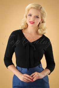 50s Charlie Chevron Top in Black