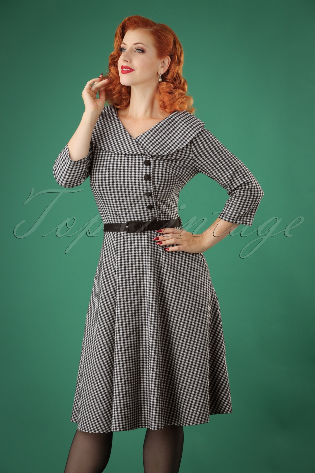 1950s Dresses, 50s Dresses | 1950s Style Dresses 50s Aubrey Houndstooth Flared Dress in Black £59.62 AT vintagedancer.com